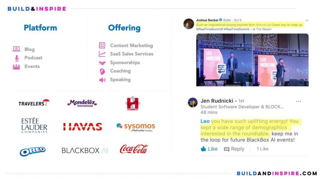 Hire Build & Inspire - Content Marketing, SaaS Sales Services, Sponsorships, Coaching Speaking